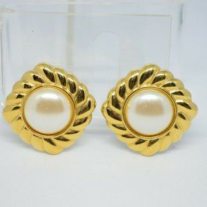 Monet Faux Pearl Gold Tone Clip Earrings (B)